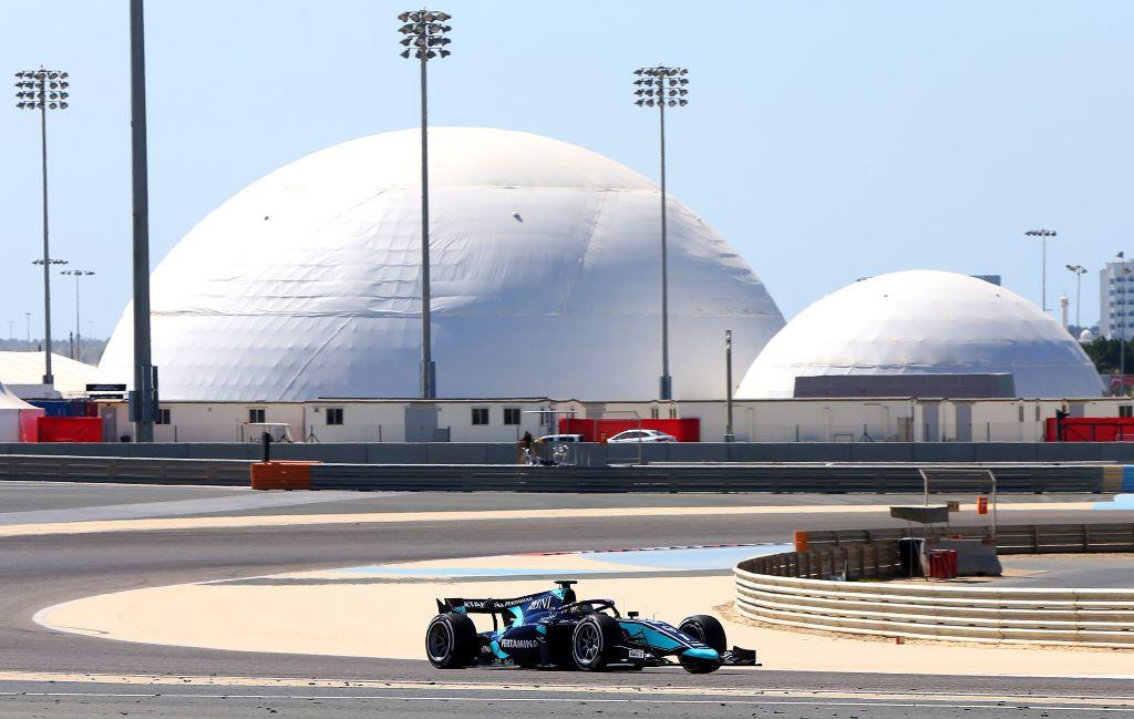 Pebalap DAMS Sean Gelael menjalani hari kedua tes pramusim F2 2020 di Sirkuit Sakhir, Bahrain.