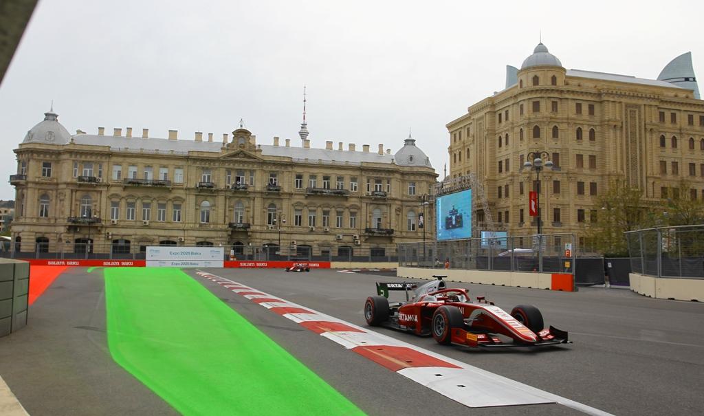 Sean Gelael saat tampil di sesi kualifikasi F2 GP Baku, Azerbaijan